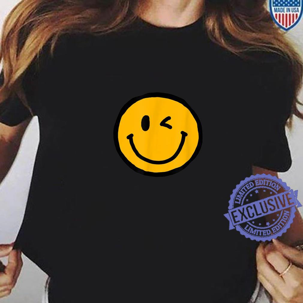 Retro Vibe Winking Smiley Face Happy Face Wink Shirt ladies tee