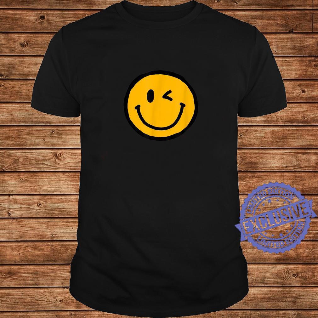 Retro Vibe Winking Smiley Face Happy Face Wink Shirt long sleeved