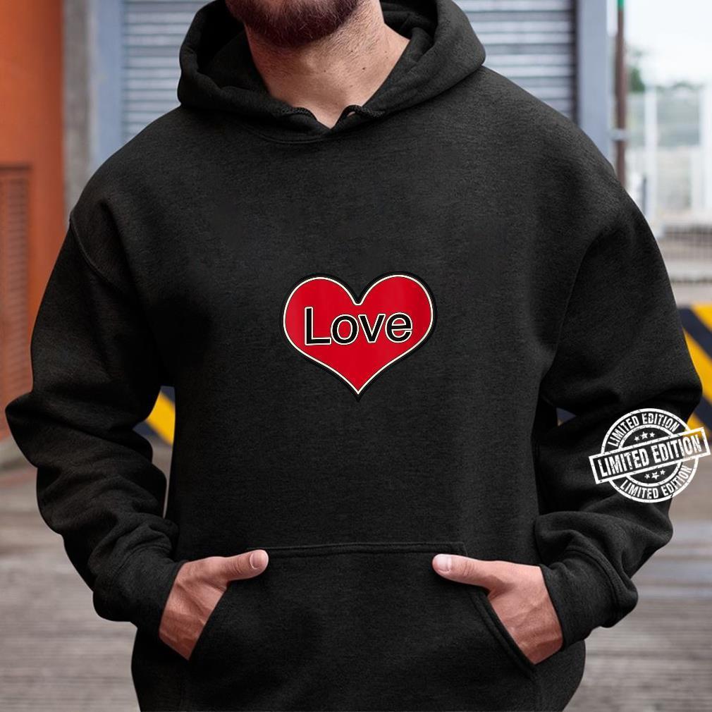 Womens Red Heart Love English Retro Vintage Shirt hoodie
