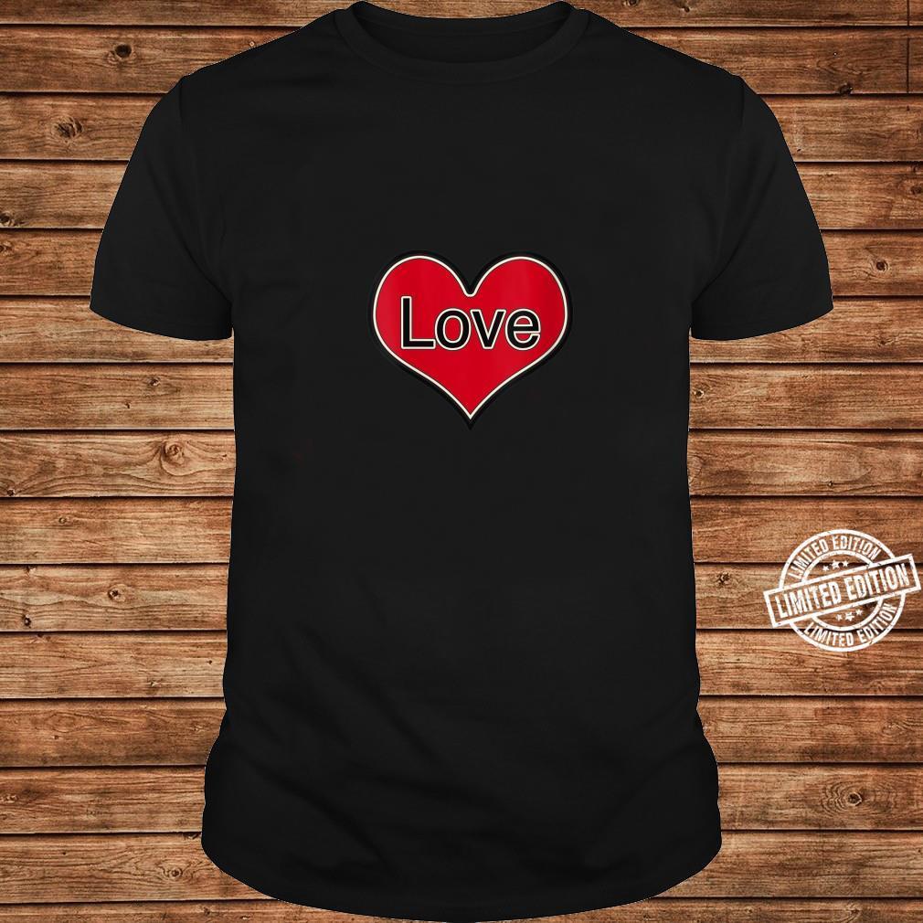 Womens Red Heart Love English Retro Vintage Shirt long sleeved