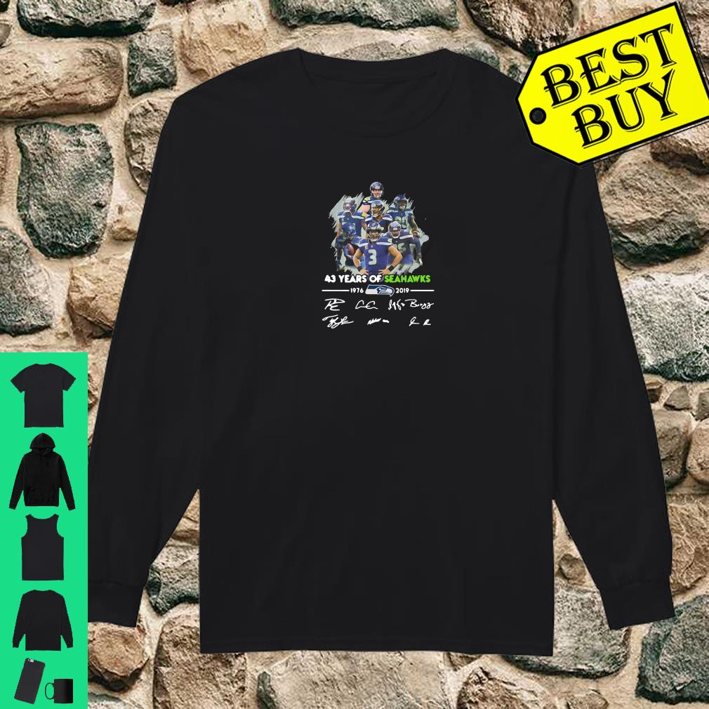 43 years of Seahawks 1976 2019 signatures shirt long sleeved
