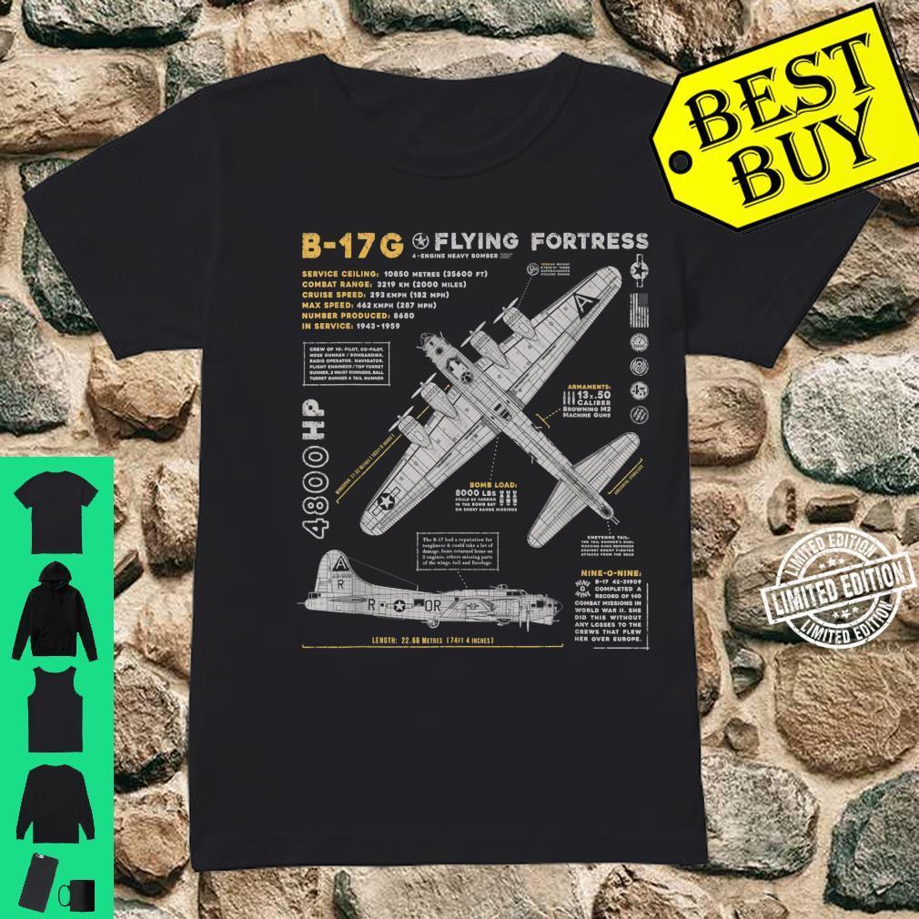 B17 Flying Fortress WW2 B17G Bomber Vintage Aviation Shirt ladies tee