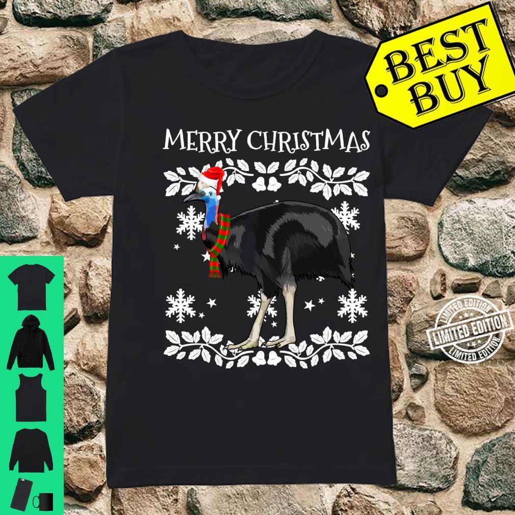 Bird Merry Christmas Ornament Cassowary Ugly Xmas Shirt ladies tee