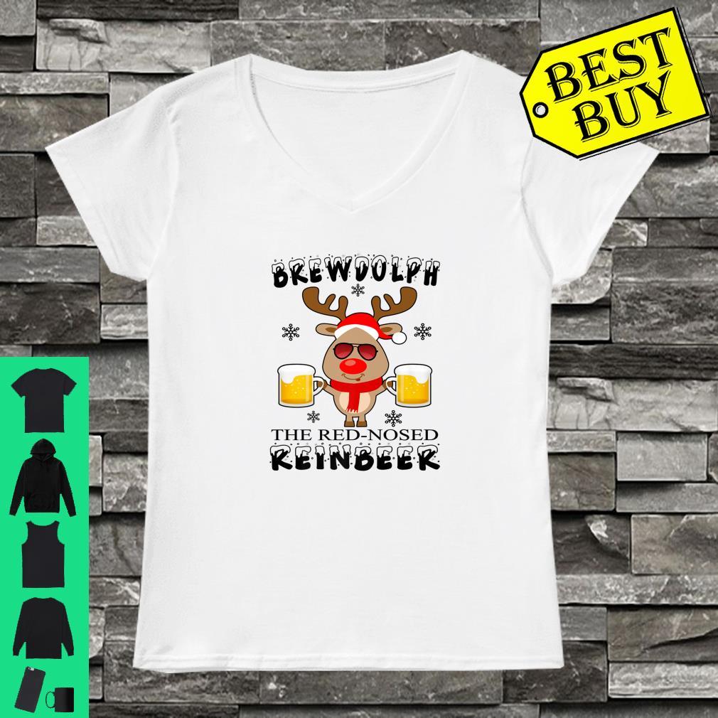Brewdolph The Red Nosed Reinbeer Christmas Reindeer Beer shirt ladies tee