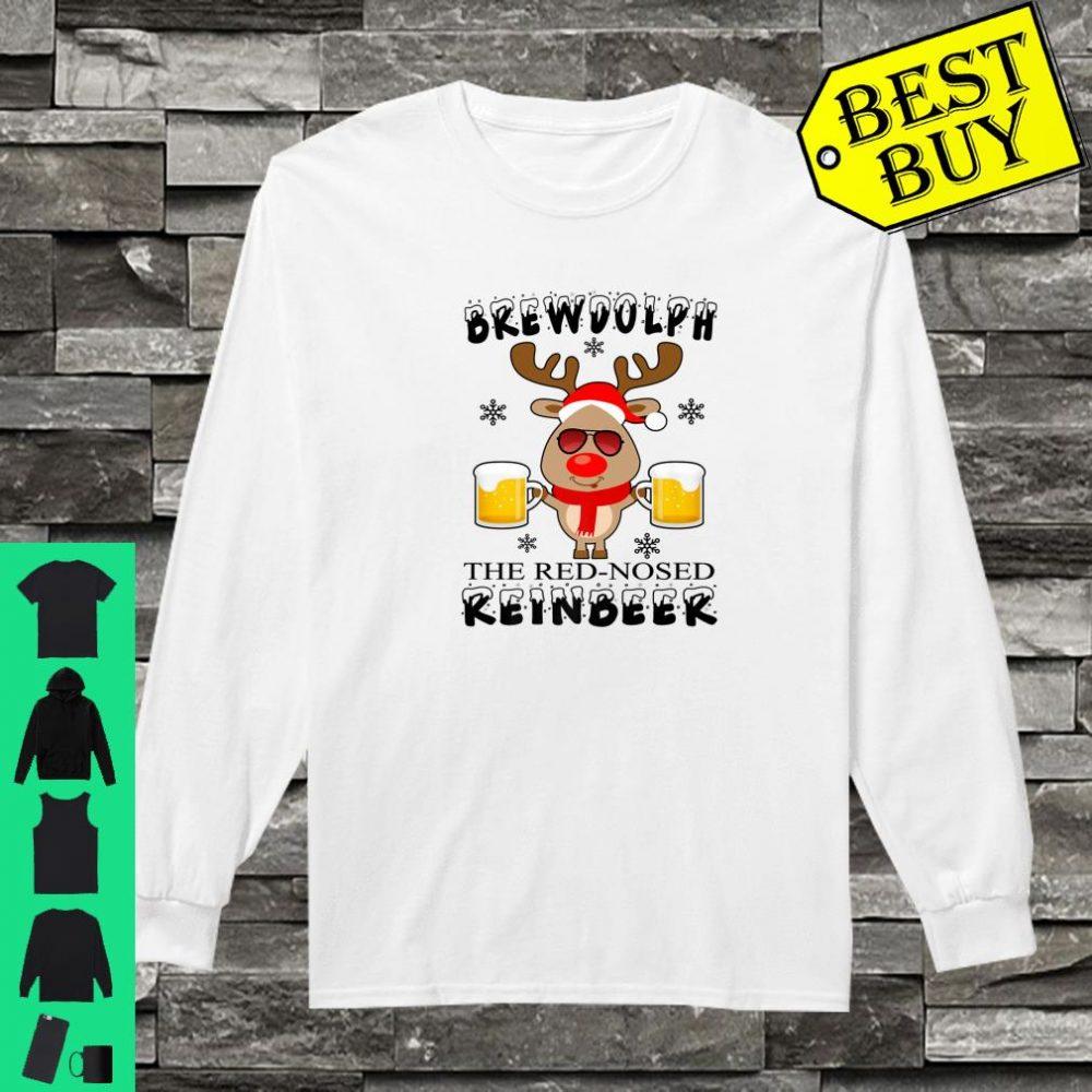 Brewdolph The Red Nosed Reinbeer Christmas Reindeer Beer shirt long sleeved