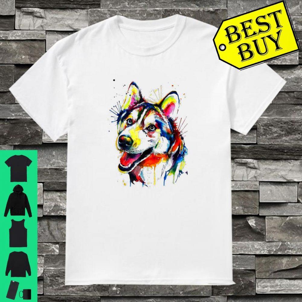 Colorful Siberian Husky Chukcha Sibe Puppy Dog Dad Mom shirt
