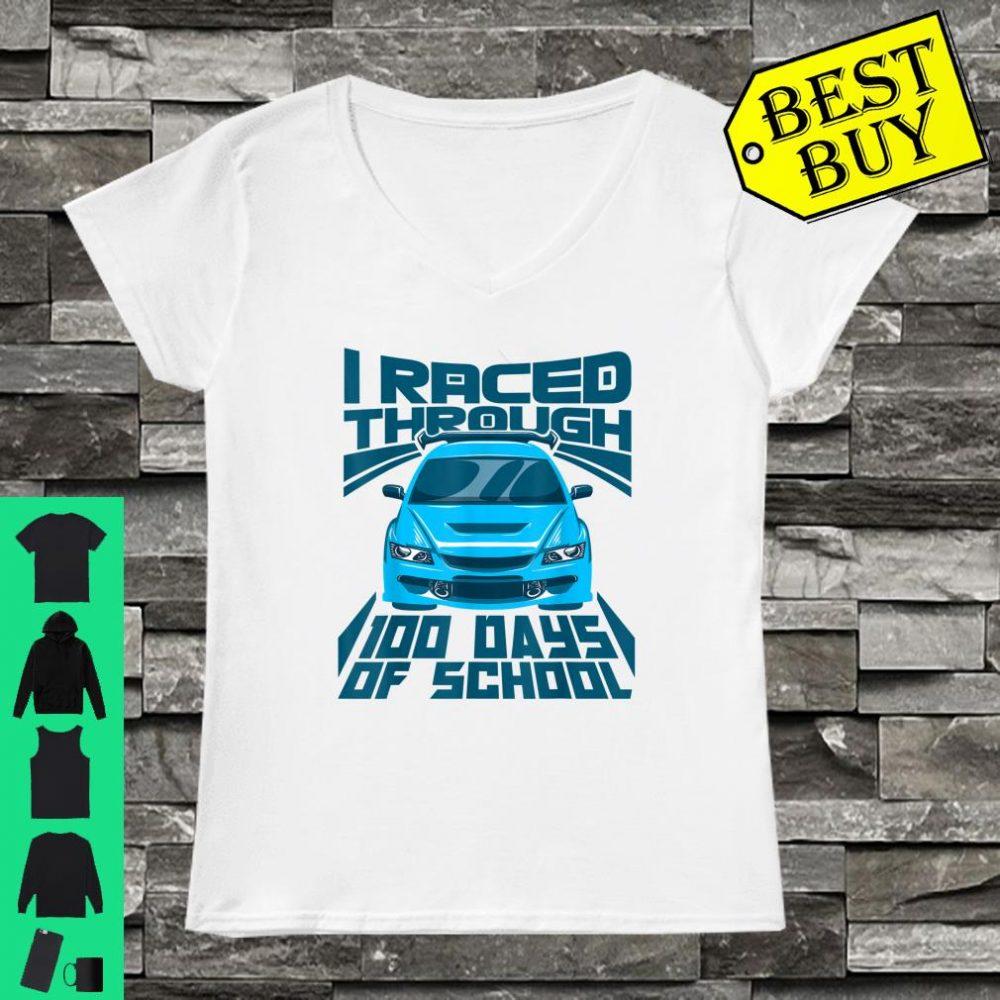 Cool Car I Raced Through 100 Days of School Boys shirt ladies tee