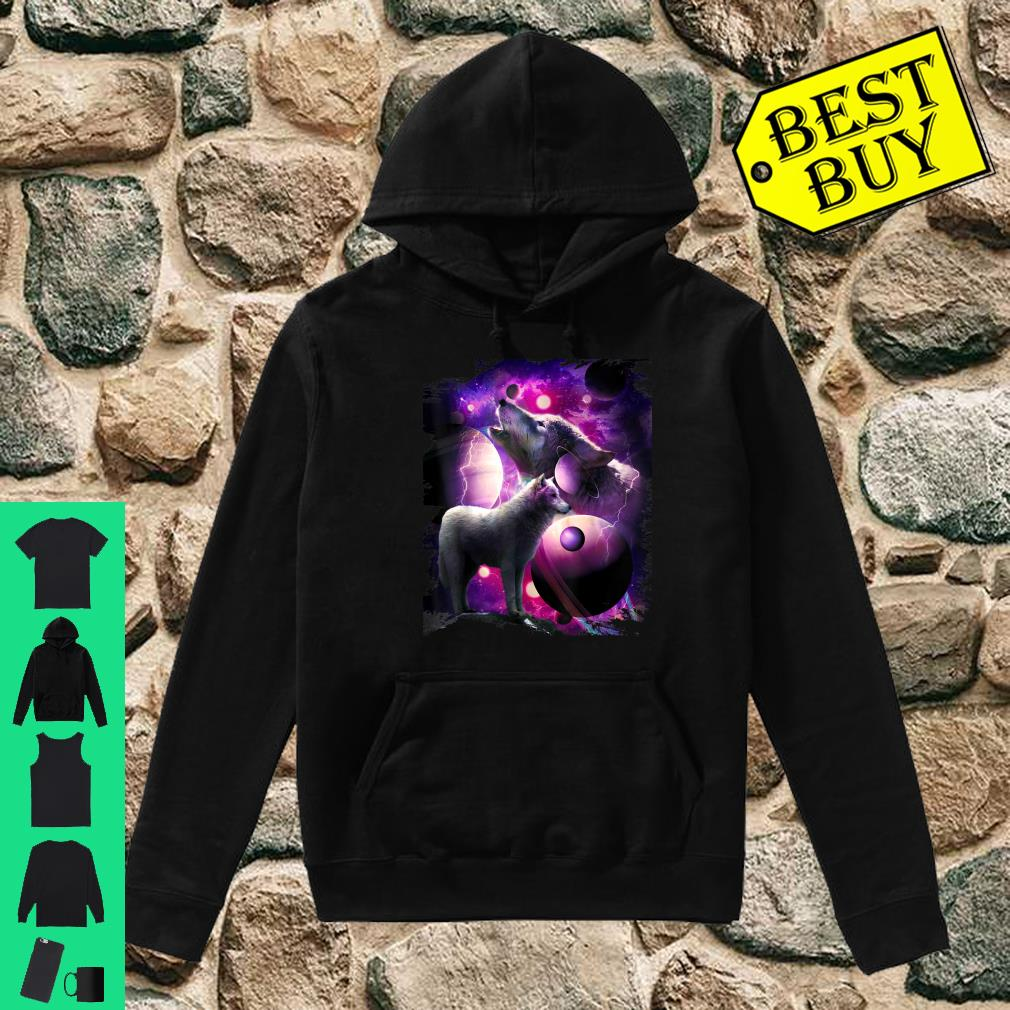 Cosmic Wolf Howling At Moon In Space shirt hoodie