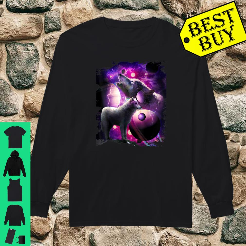 Cosmic Wolf Howling At Moon In Space shirt long sleeved