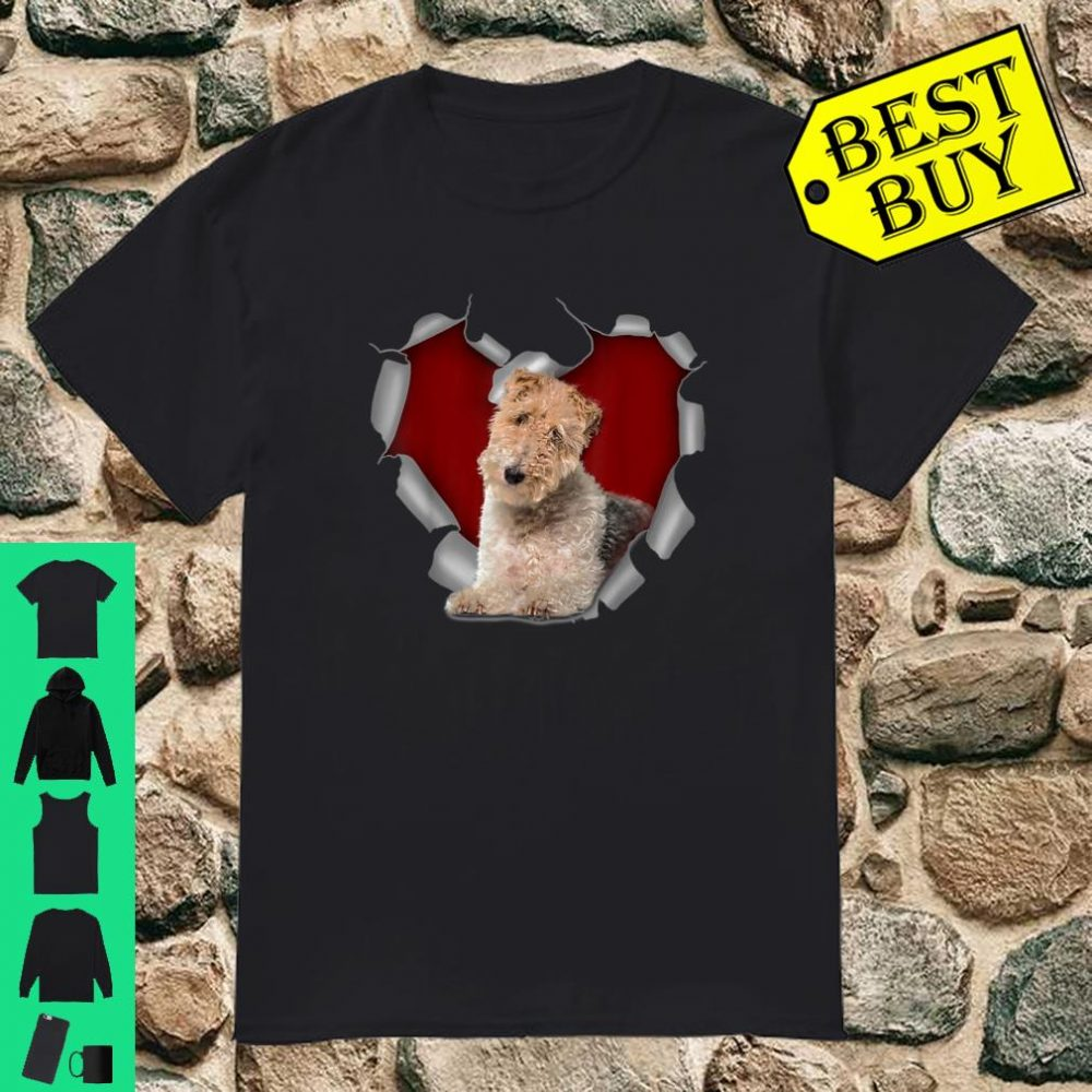 Cute torn heart dog Wire Fox Terrier Christmas lover shirt