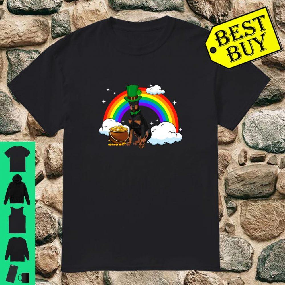 Doberman pinscher Irish Clover St Patrick Day Leprechaun shirt