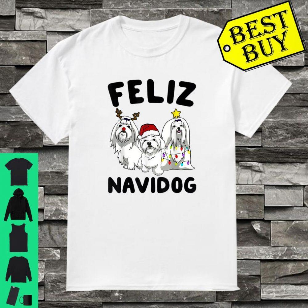 Feliz Navidog Maltese dog lover gift Christmas shirt