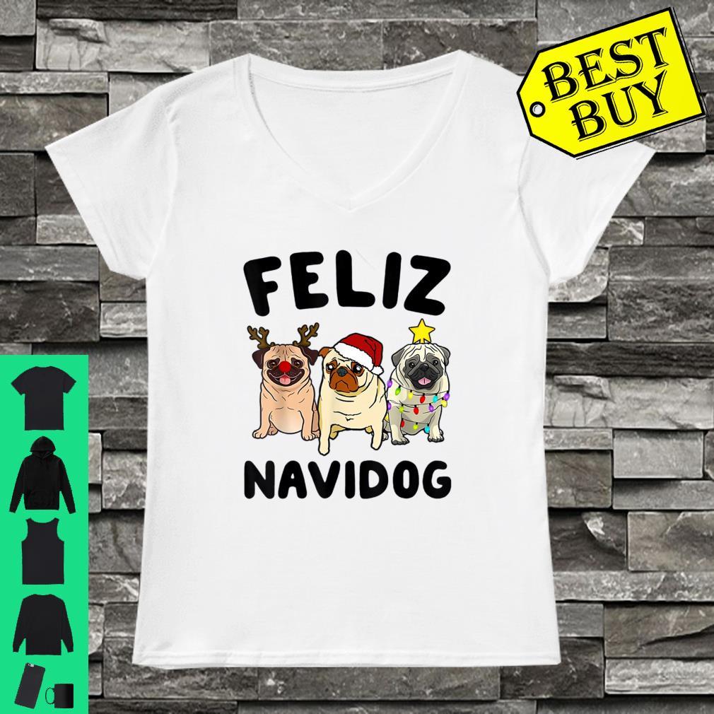 Feliz Navidog Three Pug dog Christmas shirt ladies tee