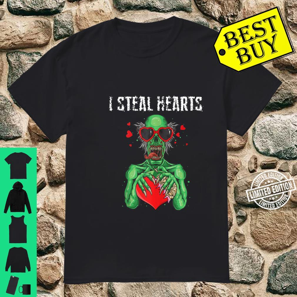 I Steal Hearts Valentines Day zombie Sunglasses Shirt