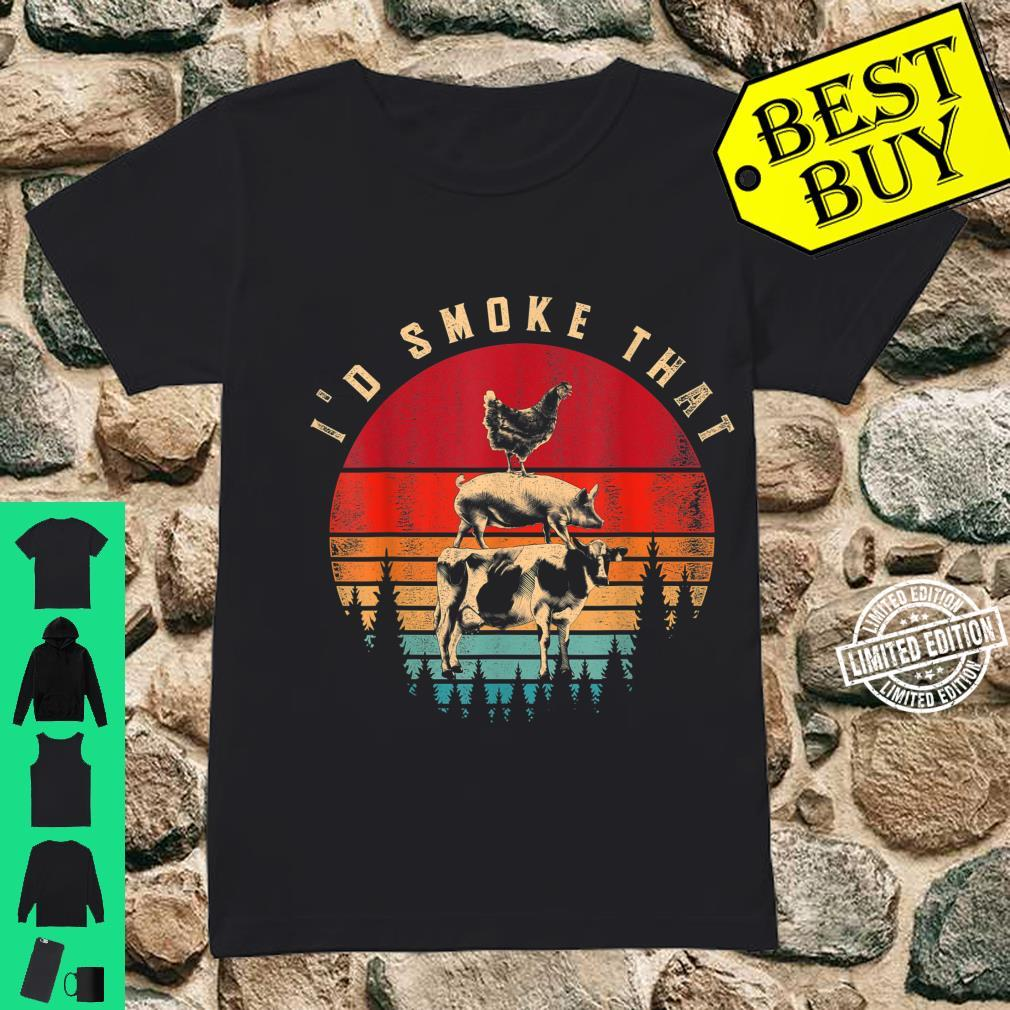 Id Smoke That Smoked Meat BBQ Chef Barbecue Shirt ladies tee
