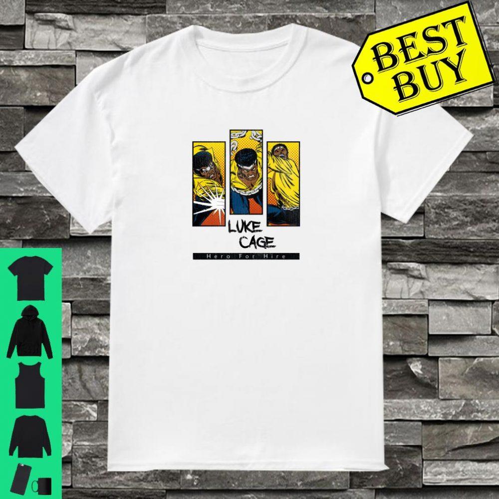 Marvel Luke Cage Hero For Hire Three Panels Shirt