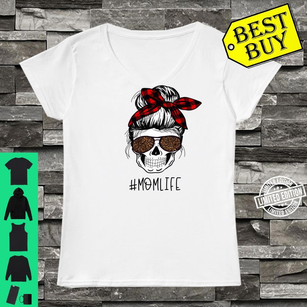 Mom life Skeleton Buffalo Plaid Bandana Leopard Mama Design Shirt ladies tee