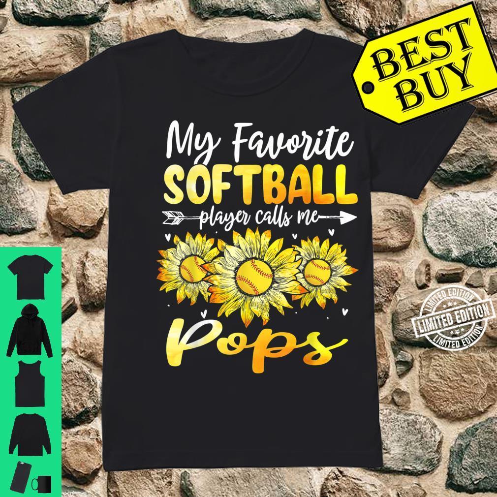 My Favorite Softball Player Calls Me Pops Sunflower Shirt ladies tee
