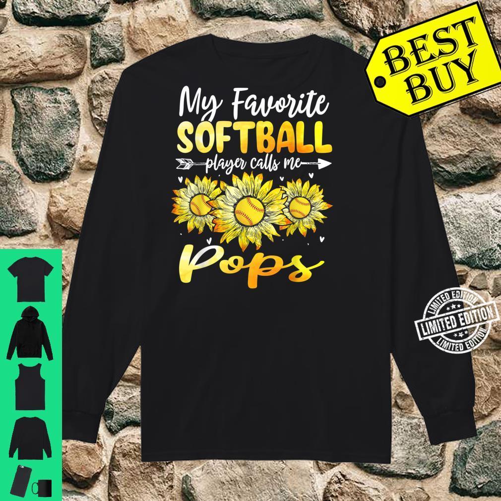 My Favorite Softball Player Calls Me Pops Sunflower Shirt long sleeved