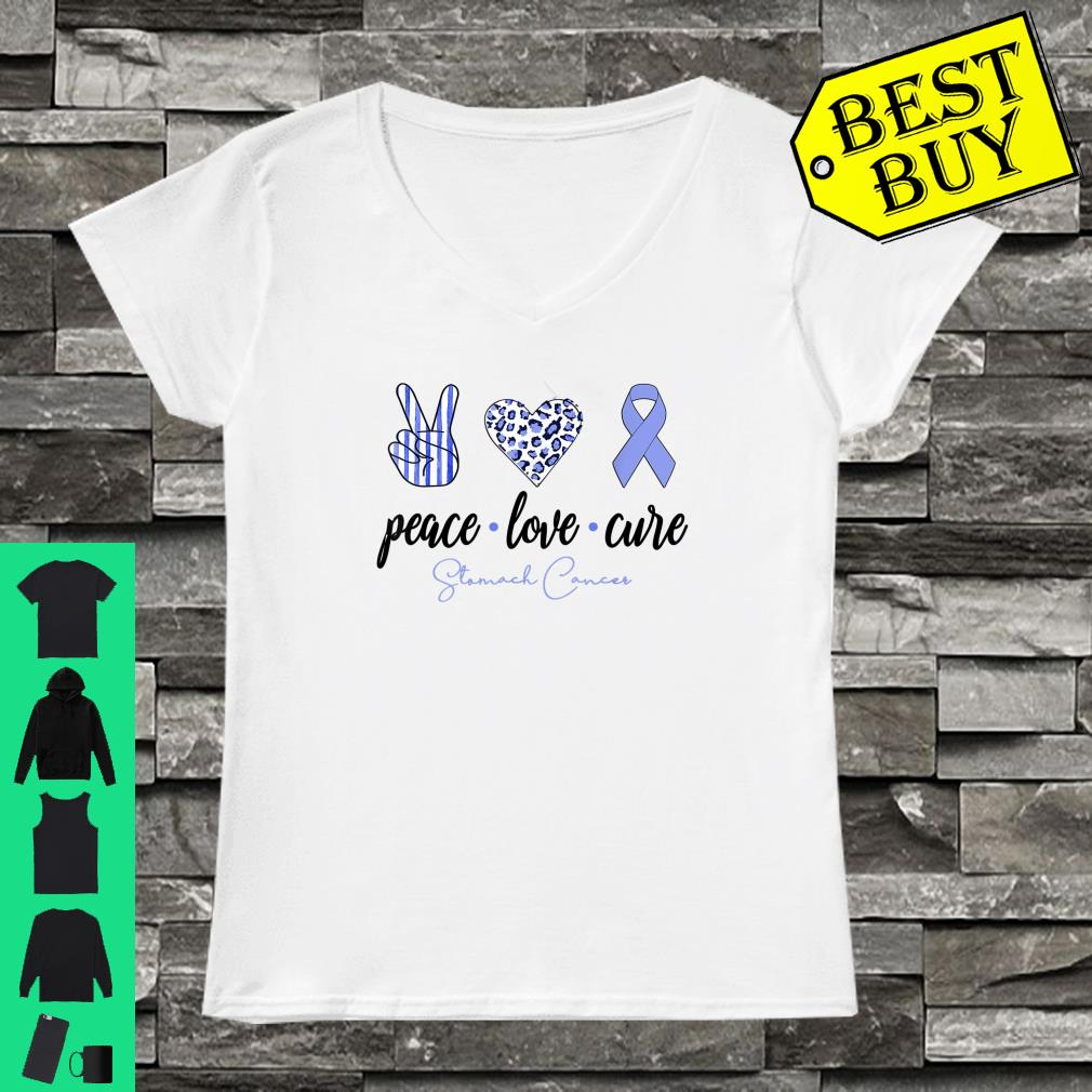 Peace Love Cure Periwinkle Ribbon Stomach Cancer Shirt ladies tee