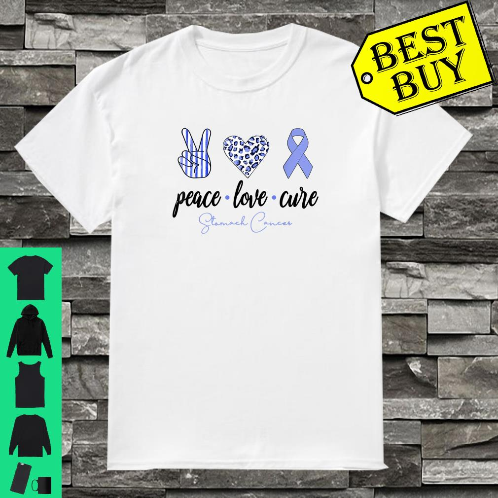 Peace Love Cure Periwinkle Ribbon Stomach Cancer Shirt