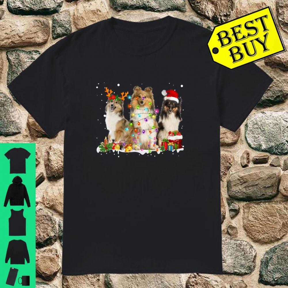 Shetland Collie Christmas Reindeer Lights Graphic shirt