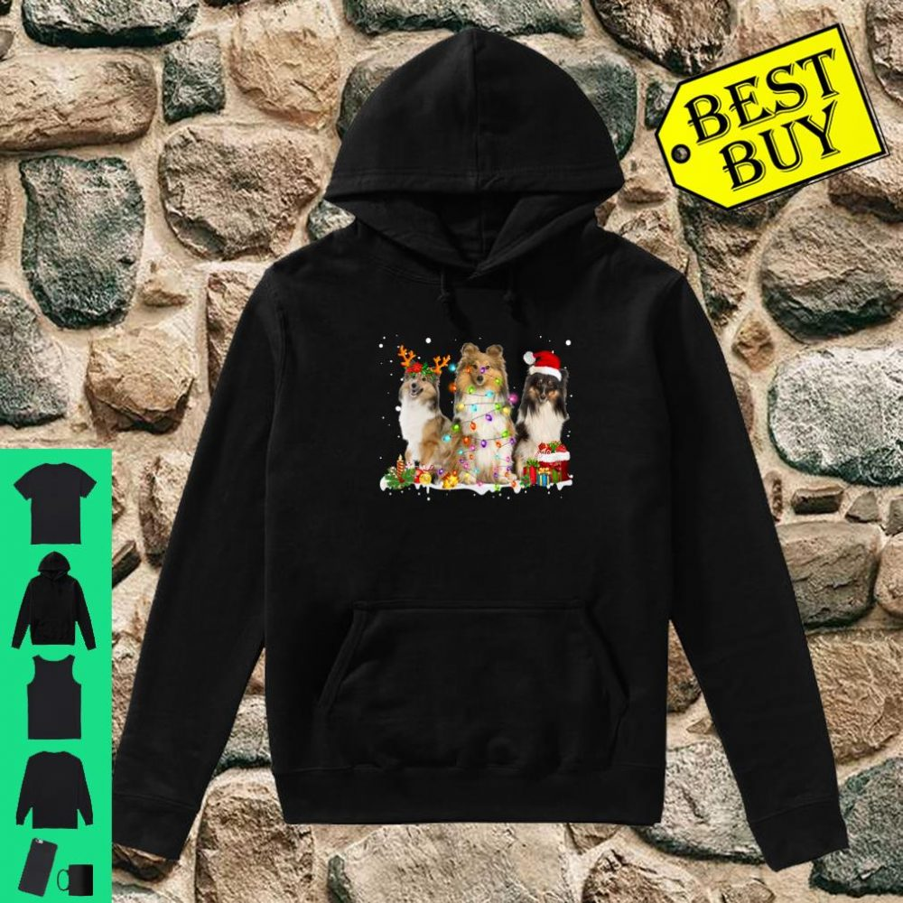 Shetland Collie Christmas Reindeer Lights Graphic shirt hoodie