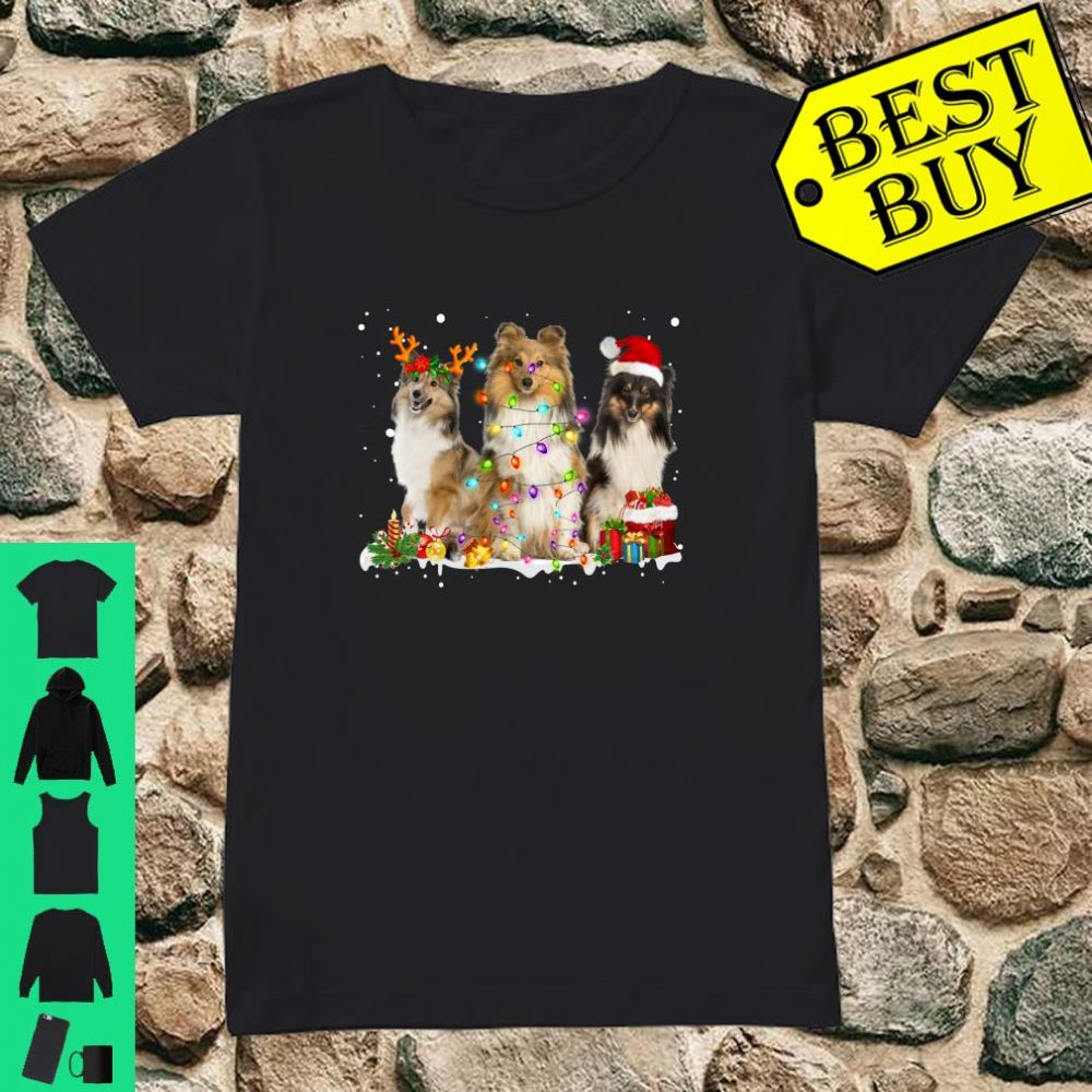 Shetland Collie Christmas Reindeer Lights Graphic shirt ladies tee