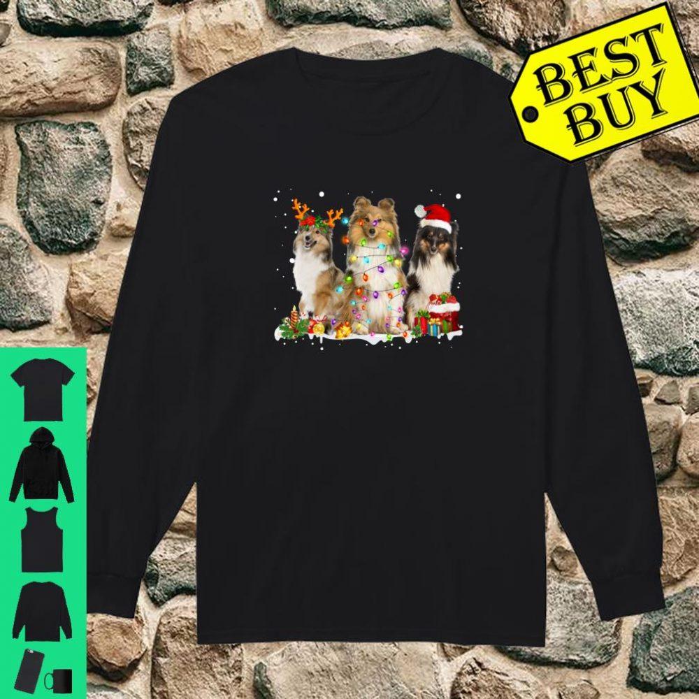 Shetland Collie Christmas Reindeer Lights Graphic shirt long sleeved