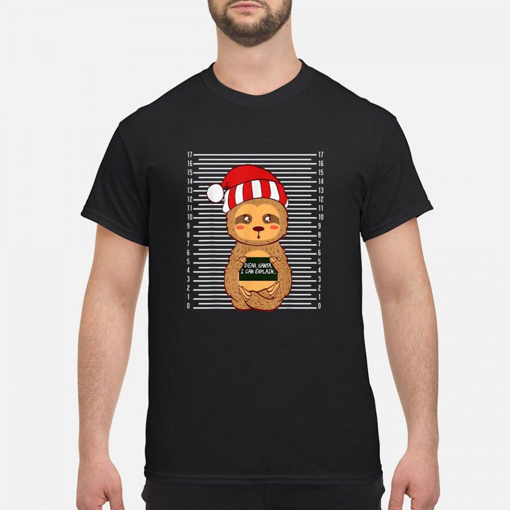 Sloth Lazy Christmas Santa Present Animal Design shirt
