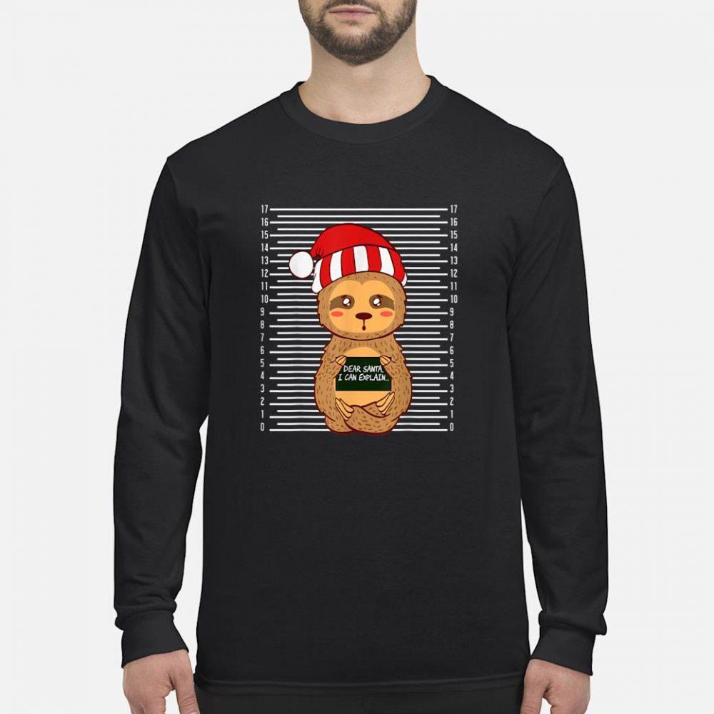 Sloth Lazy Christmas Santa Present Animal Design shirt long sleeved