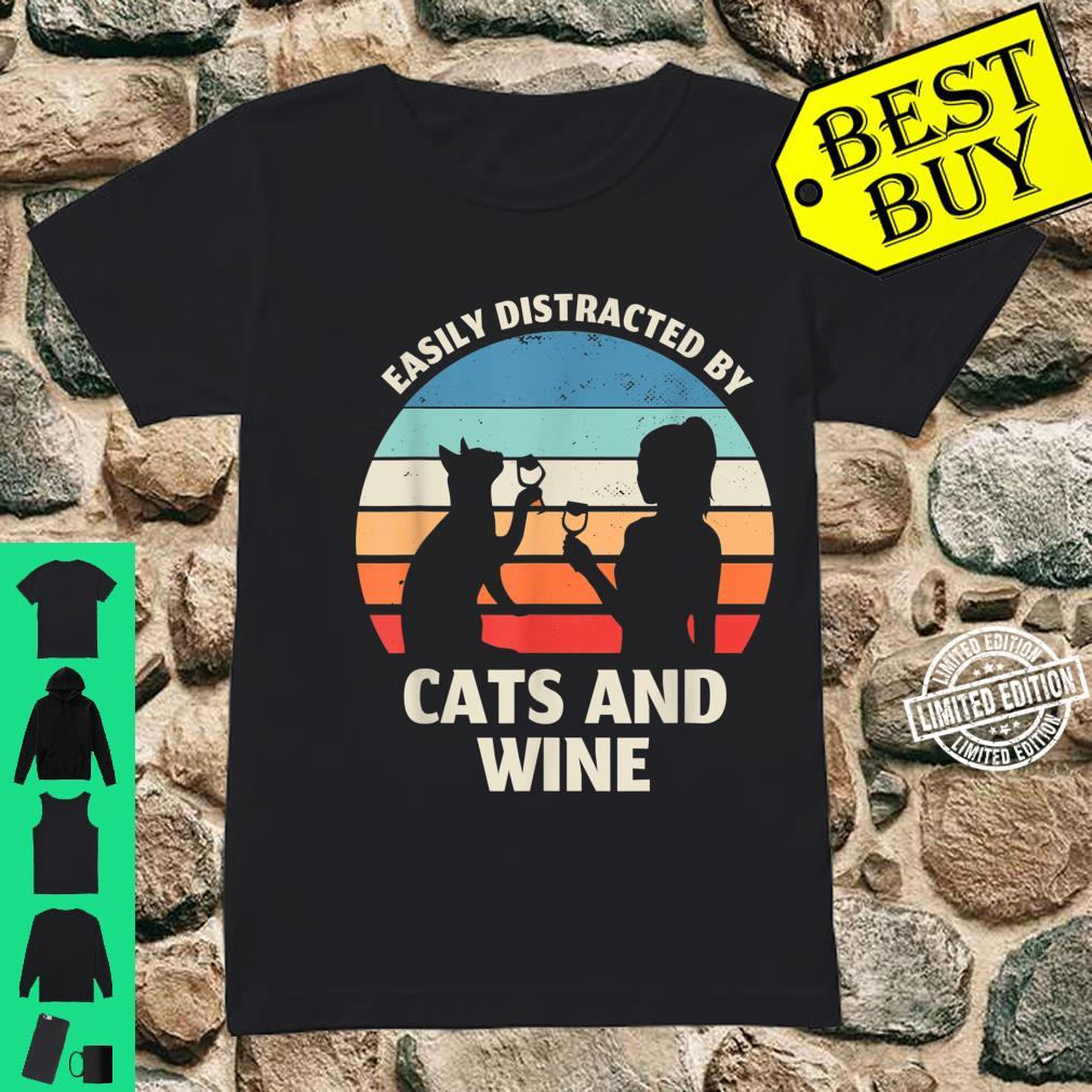 TShirt with German Text 'Slightly Distributed by Cats and Wine' Shirt ladies tee