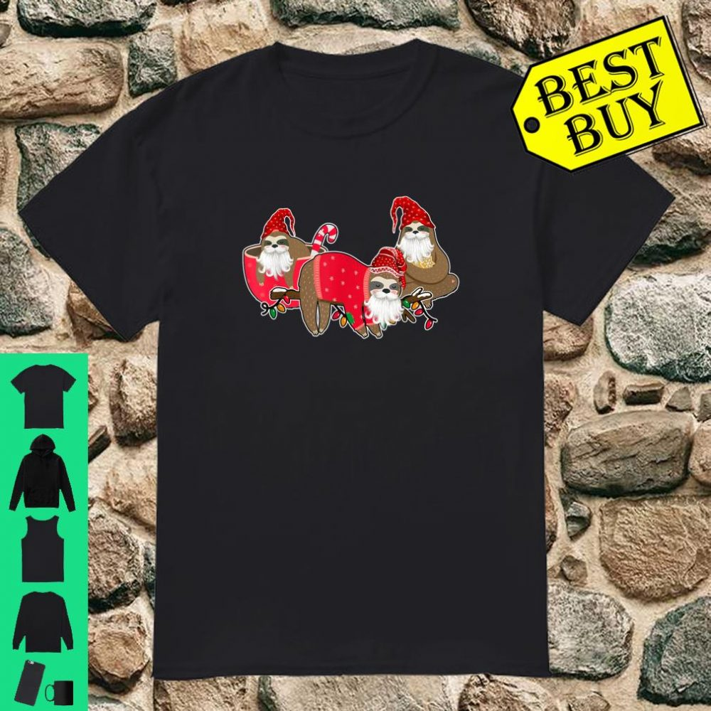 Three Sloths In Red Merry Christmas shirt