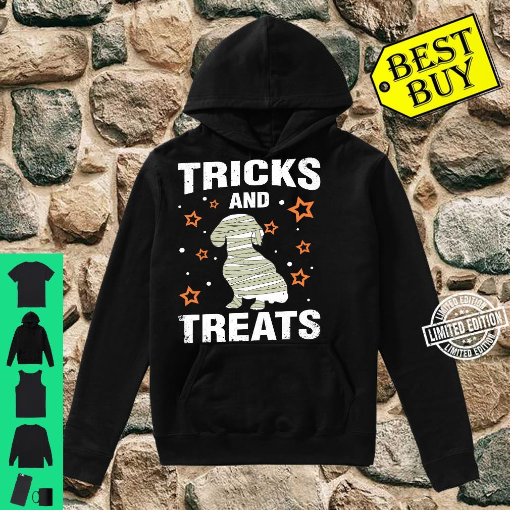 Treats & Tricks Dachshund Halloween Costume Mummy Shirt hoodie