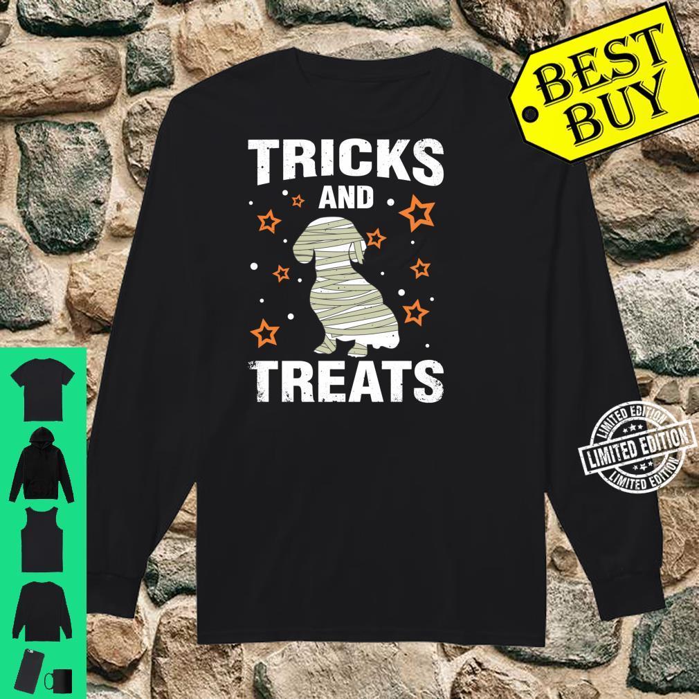 Treats & Tricks Dachshund Halloween Costume Mummy Shirt long sleeved