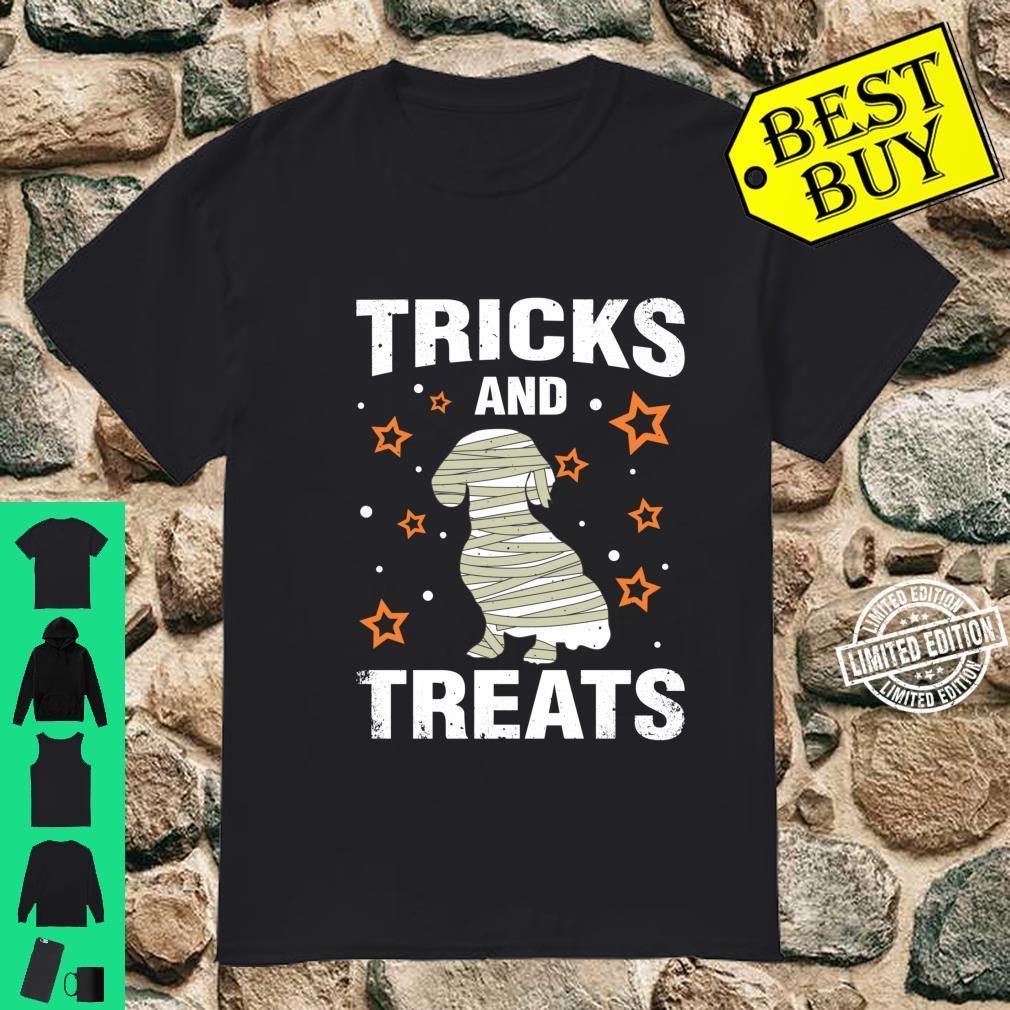 Treats & Tricks Dachshund Halloween Costume Mummy Shirt