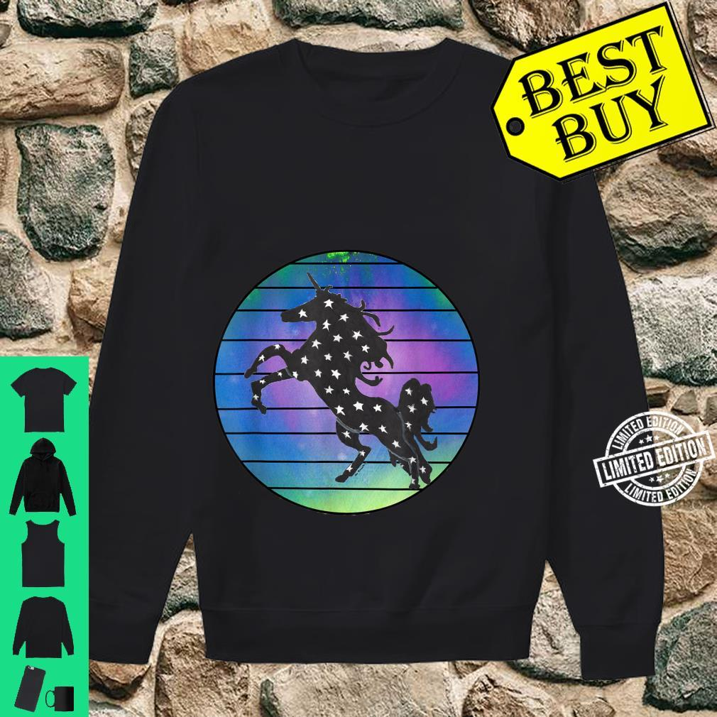 Unicorn Silhouette Over Abstract Circle with Black Lines Shirt sweater