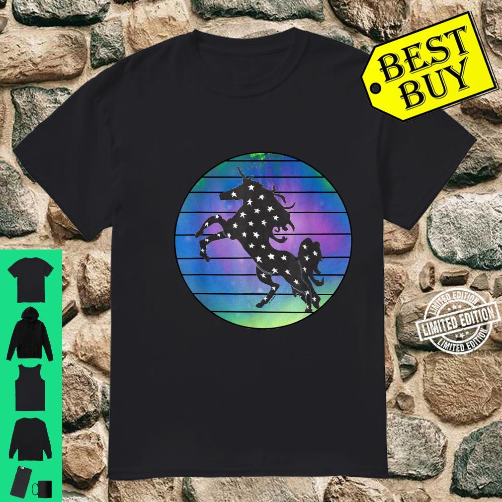 Unicorn Silhouette Over Abstract Circle with Black Lines Shirt