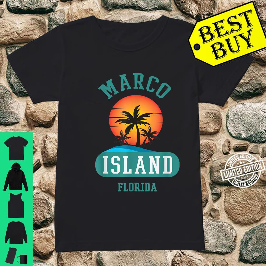 Unique Retro Marco Island Florida Beaches Sunset Novelty Shirt ladies tee