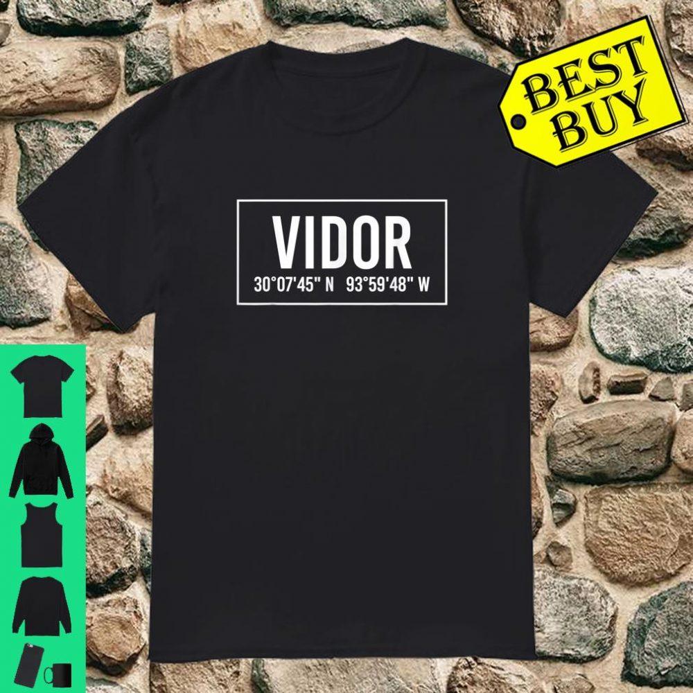 VIDOR TX TEXAS City Coordinates Home Roots Shirt