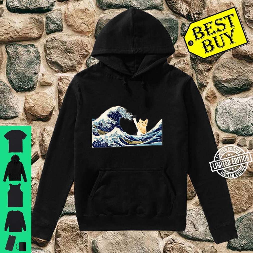 Womens The Great Wave with Large Cat Shirt hoodie