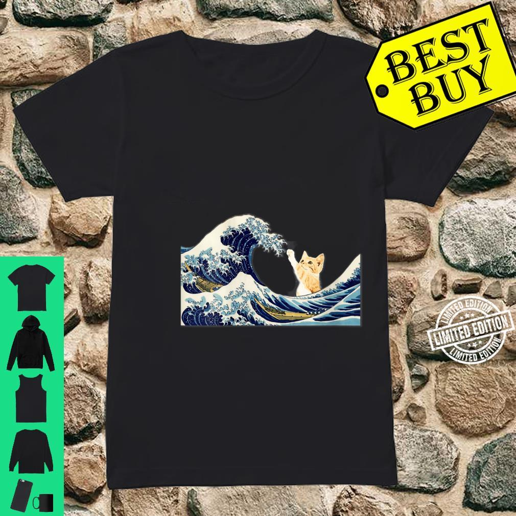 Womens The Great Wave with Large Cat Shirt ladies tee