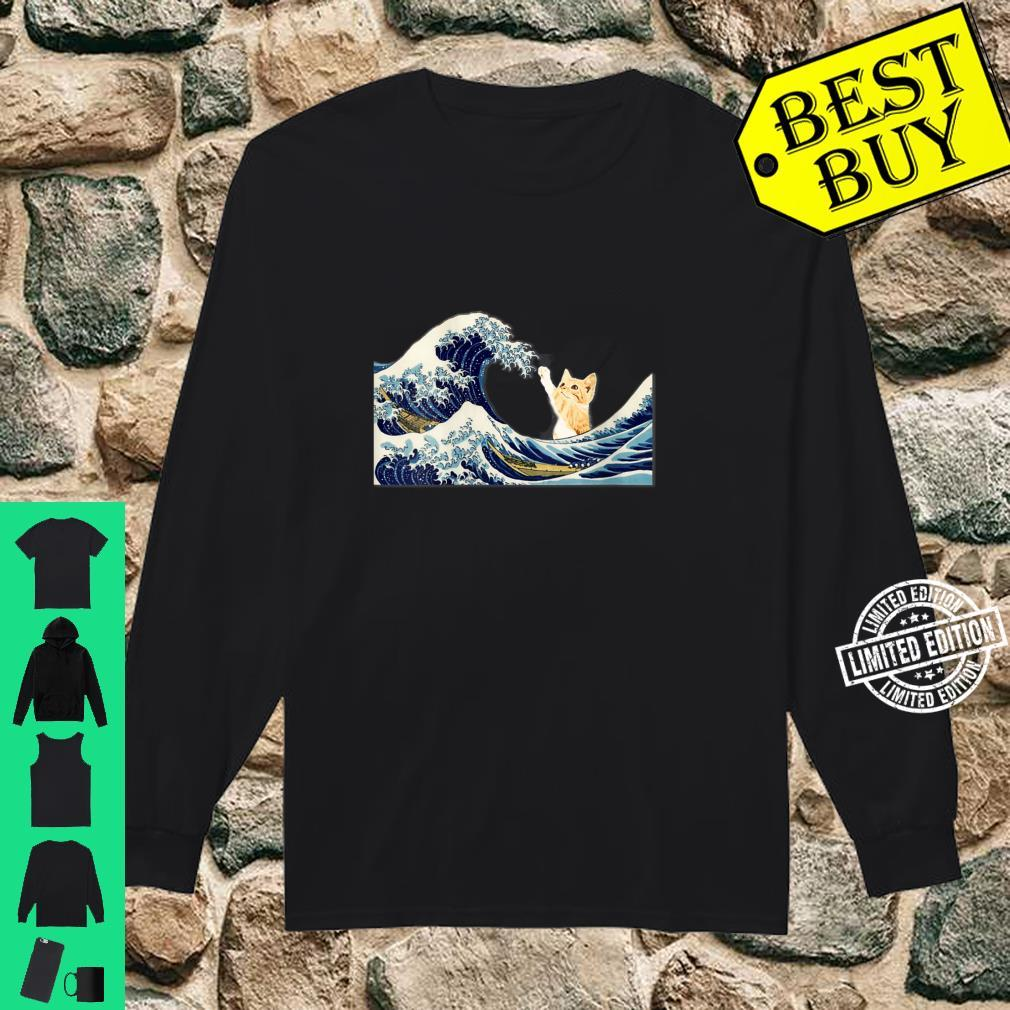 Womens The Great Wave with Large Cat Shirt long sleeved