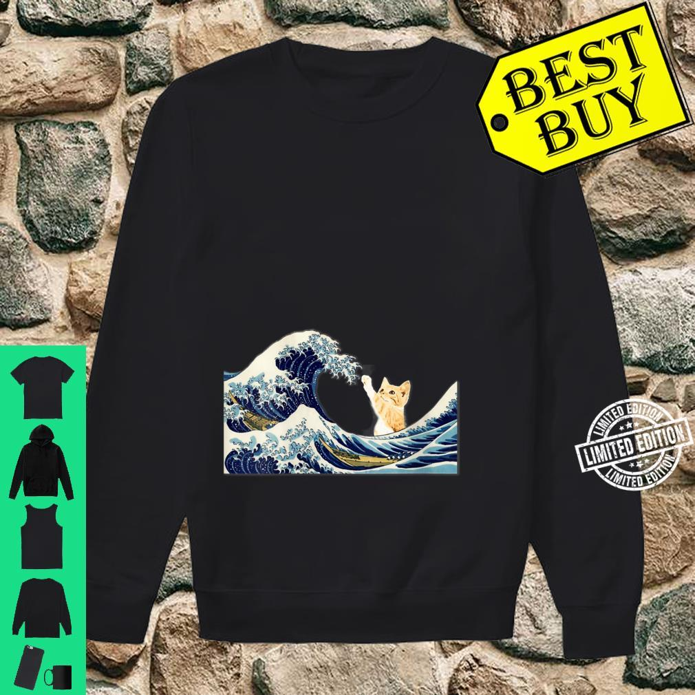 Womens The Great Wave with Large Cat Shirt sweater