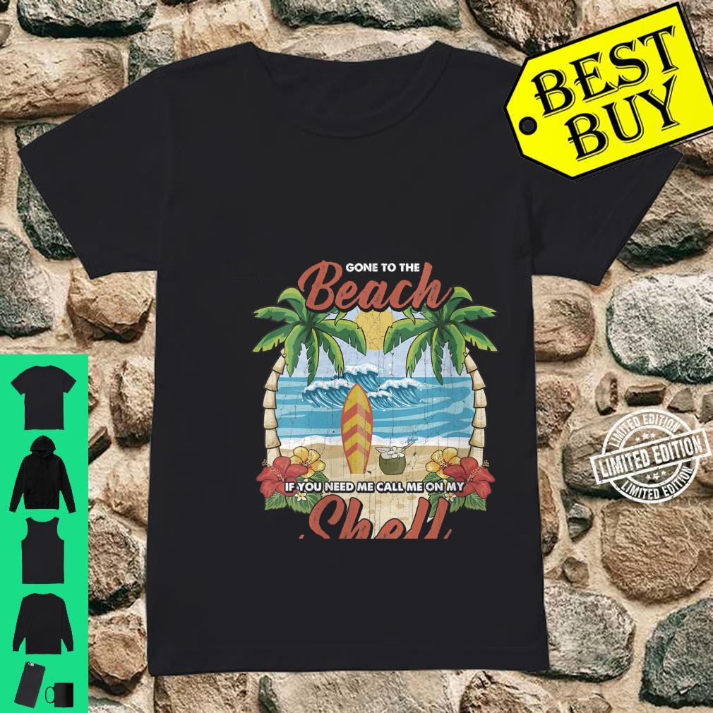 Womens Vintage Beach & Surfer Call Me On My Shell Vacation Shirt ladies tee