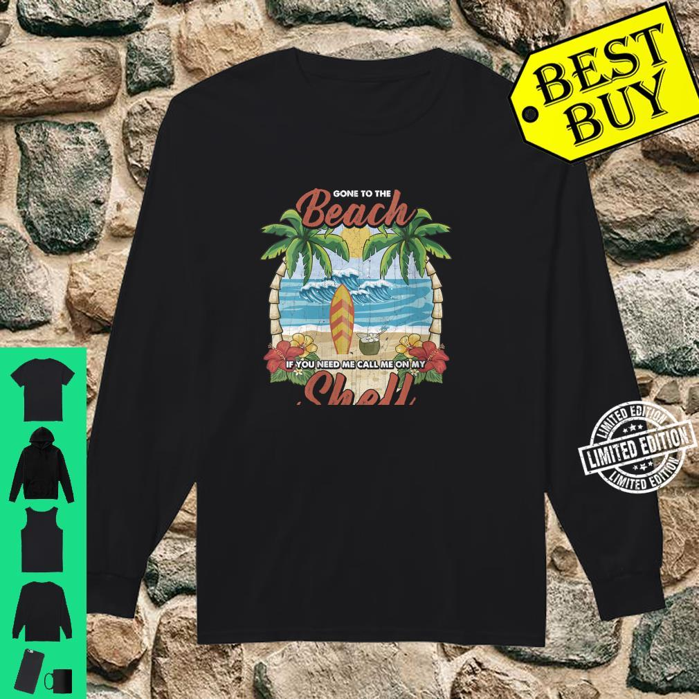 Womens Vintage Beach & Surfer Call Me On My Shell Vacation Shirt long sleeved