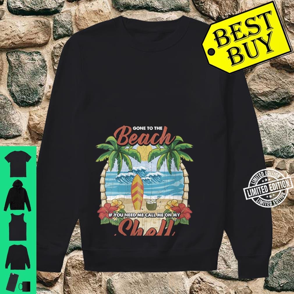 Womens Vintage Beach & Surfer Call Me On My Shell Vacation Shirt sweater