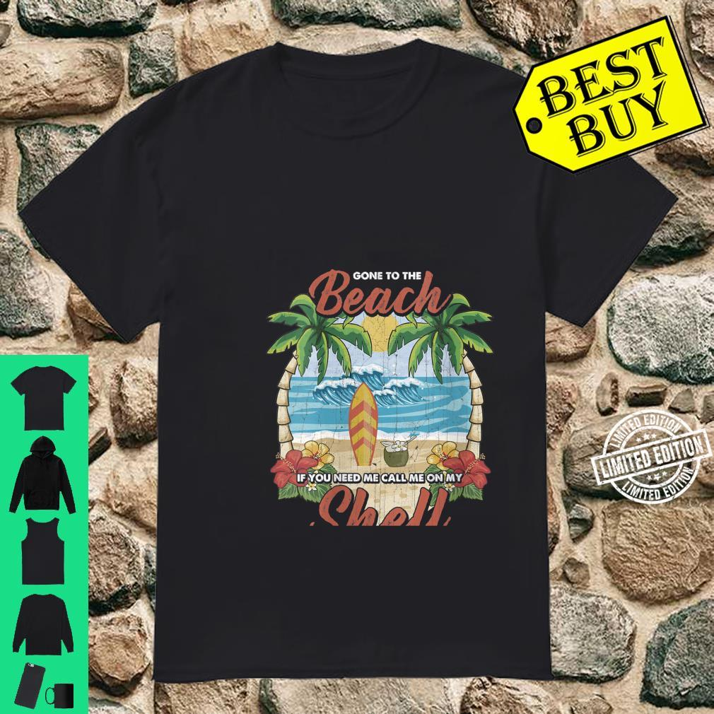 Womens Vintage Beach & Surfer Call Me On My Shell Vacation Shirt